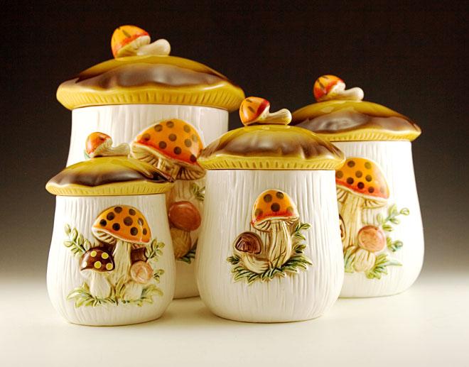 Retro Mushroom Kitchen Canister Set Plus Napkin Holder Retro Art Glass