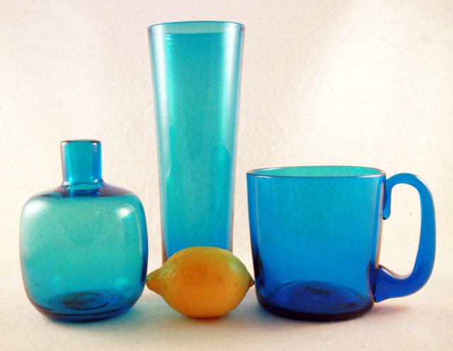 A Tall Flip Vase By Blenko Art Glass In Turquoise Retro Art Glass