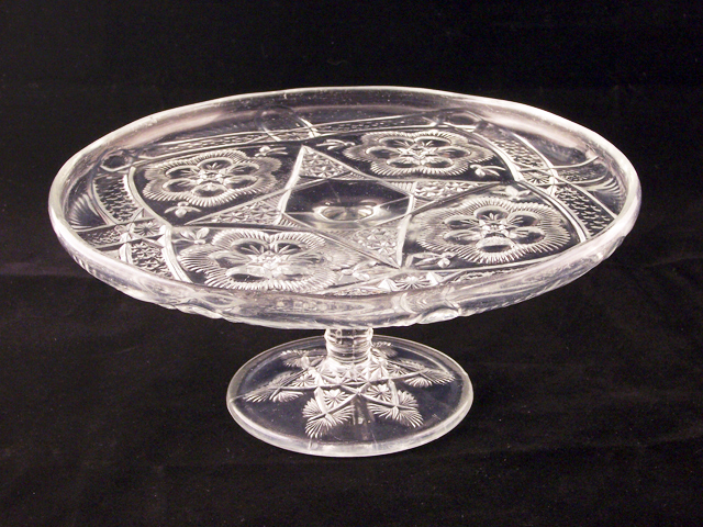 Antique Cake Plate Rayed Flower Pattern By Indiana Retro