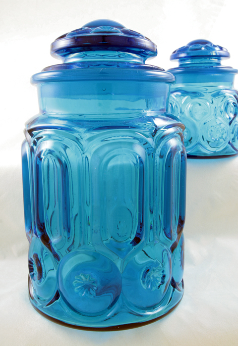 Vintage Blue Moon and Star Glass Canister Set