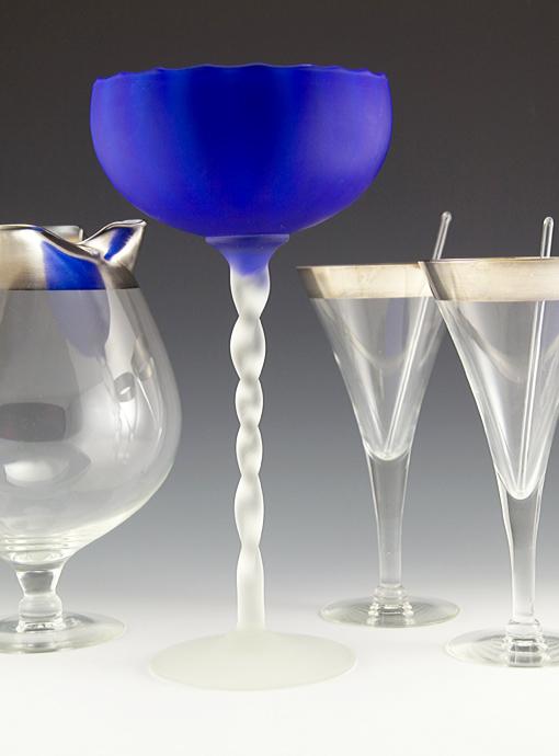 Carlo Moretti Satin Art Glass Goblet Vase Retro Art Glass