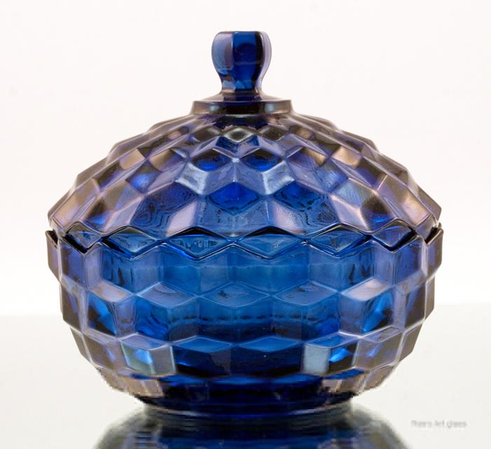 Cobalt Blue Glass Vintage Cubist Pattern Covered Jar - Retro