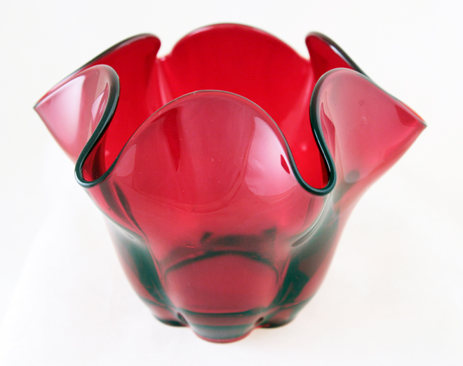 Ruby Glass Canterbury Flower Vase By Duncan Miller Retro Art Glass
