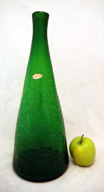 Emerald Green Blenko Glass Bottle Vase With Foil Sticker Retro Art