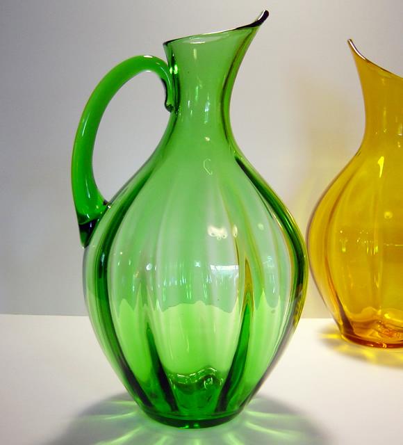 Grass Green Vintage Blenko Optic Pitcher Retro Art Glass