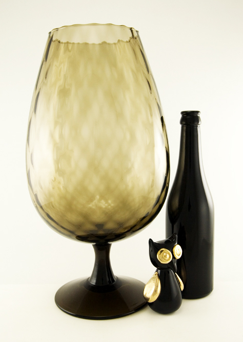 Huge Oversize Brandy Snifter Vase In Blown Black Optic Glass Retro