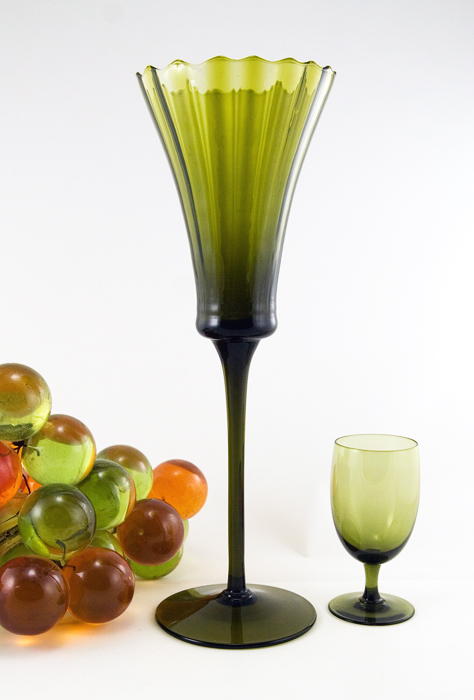 Italian Blown Optic Glass Tall Trumpet Goblet Vase Retro Art Glass