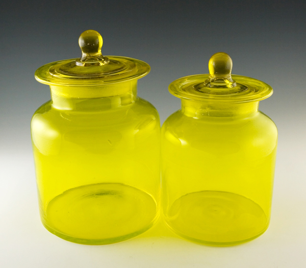 Beautiful Lemon Yellow Vintage Art Glass Canisters.