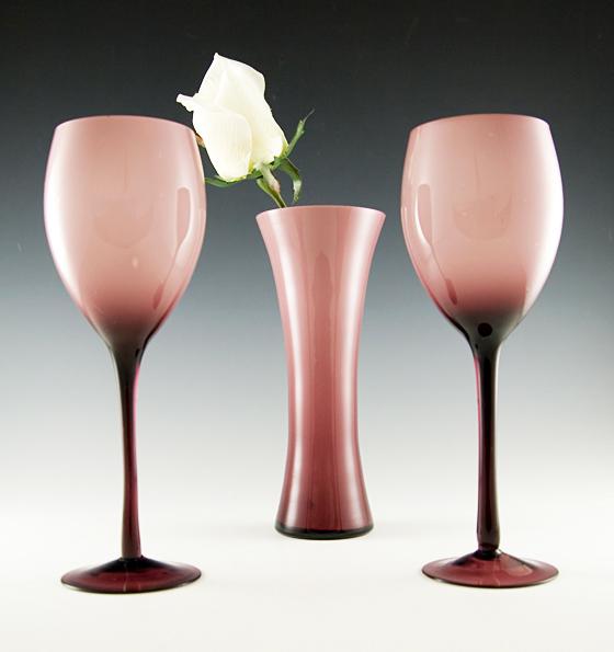 Mid Century Hand Blown Cased Glass Vase And Wine Glass Set Retro