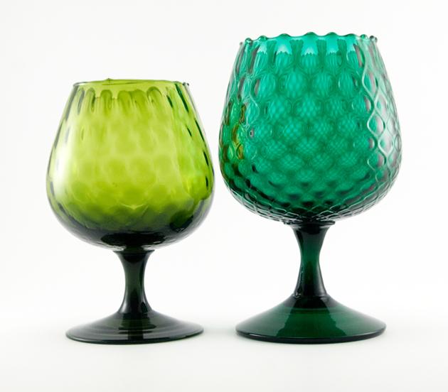 Olive Green Optic Brandy Snifter Vase Retro Art Glass