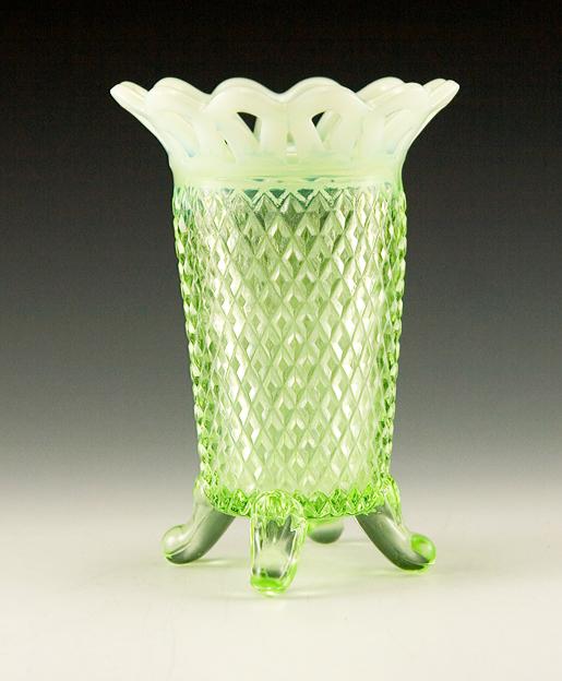 Opaline Vaseline Glass English Hobnail Vase By Imperial Retro Art