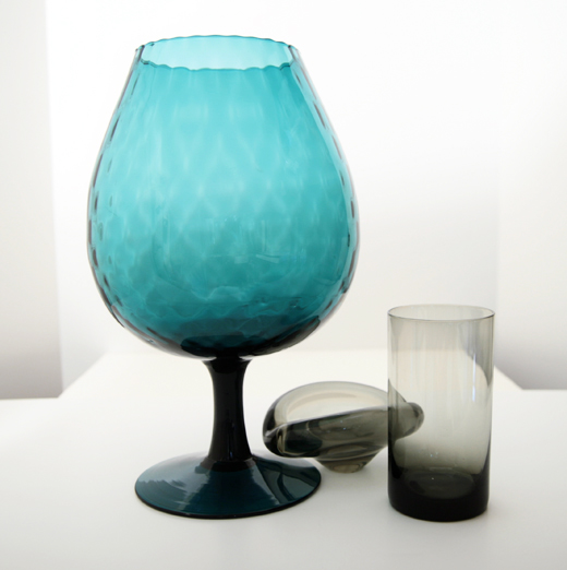 Optic Glass Balloon Vase Blue Big Retro Art Glass