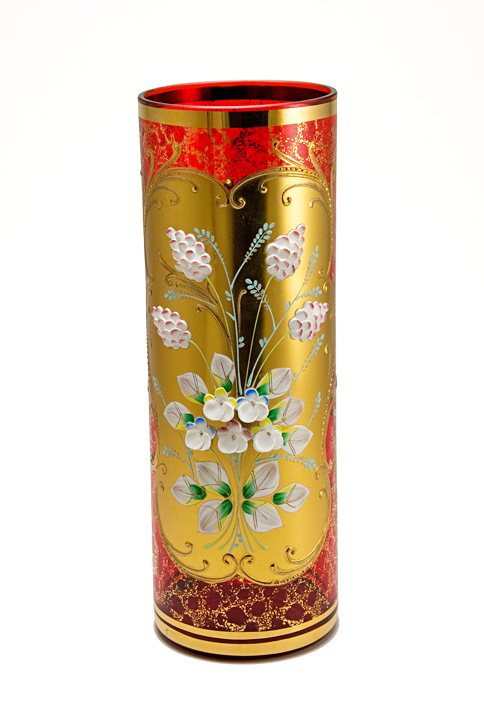 Blown Ruby Glass Cylinder Vase With Gold And Raised Enamel Retro