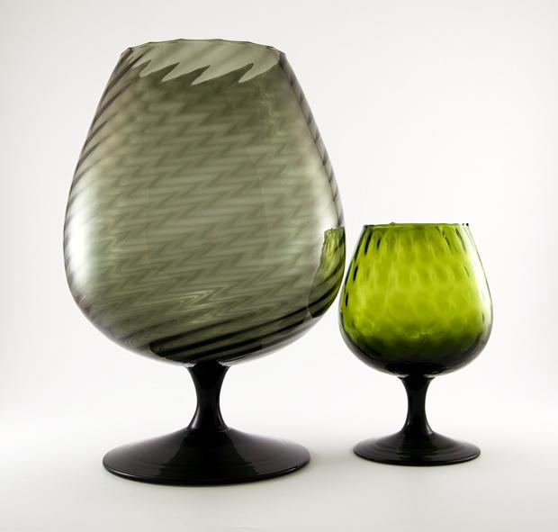 Giant Brandy Snifter Vase Spiral Optic In Moss Black Retro Art Glass
