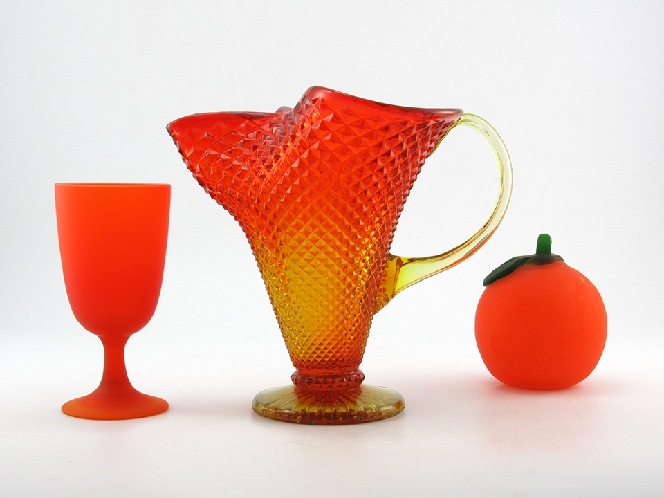 Large Vintage Glass Pitcher Vase In Persimmon Retro Art Glass