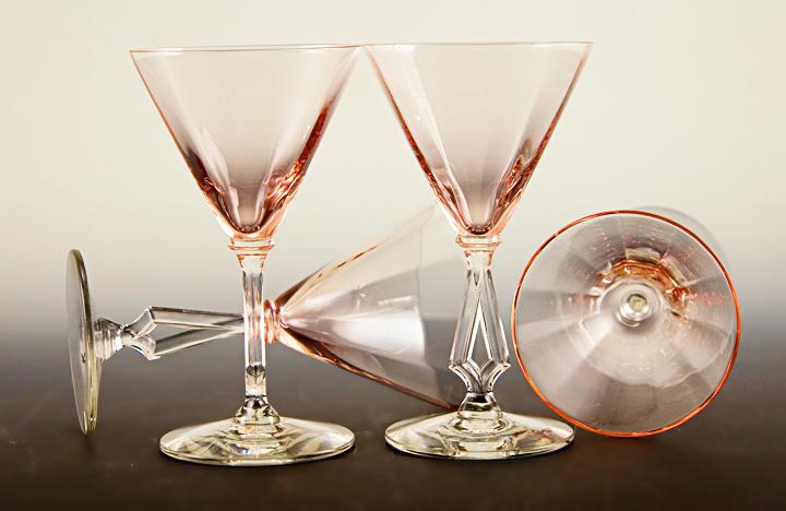 Art Deco Stemware Art Moderne Set Of 4 By Morgantown - Retro Art Glass