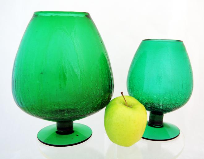 Pilgrim Crackle Glass Oversize Snifter Vase Set Of 2 Retro Art Glass