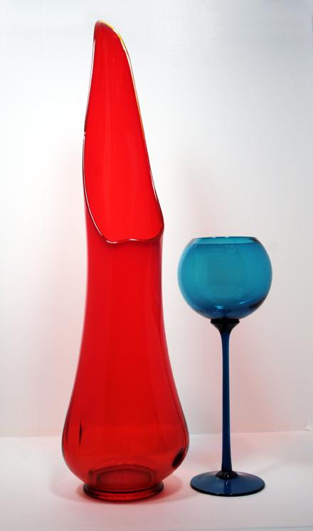 Tremendous Architectural Glass Red Floor Vase Retro Art Glass