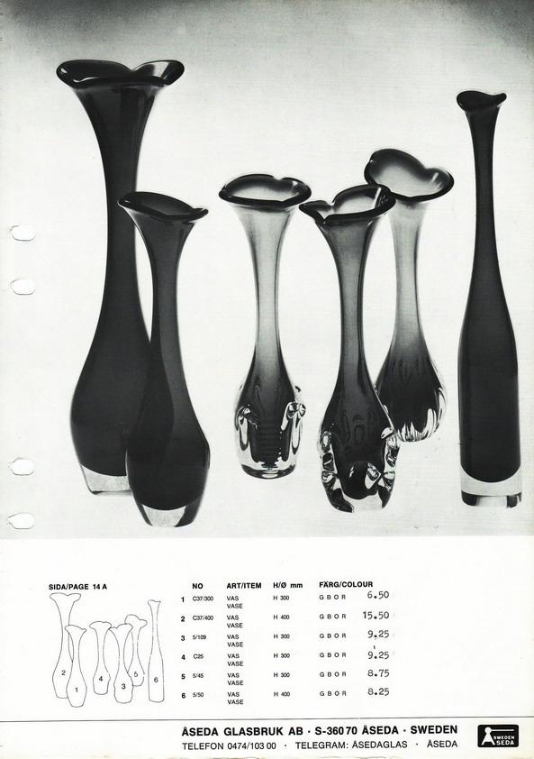 Vintage Swedish Modern Large Cased Glass Trumpet Vase Retro Art Glass
