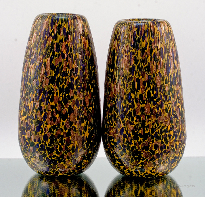 Big Hand Blown Art Glass Vase Set Laminated With Mosaic Murrines
