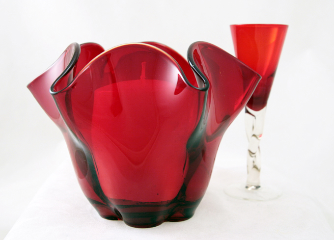 Canterbury ruby red glass vase by Duncan Miller