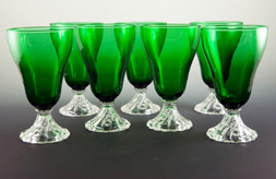 "Forest Green water goblets in Atomic era pattern called Burple by Anchor Hocking.  Collectors love to call them ""Boopies"". Circa 1950's."