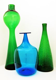 """Massive floor vase by Blenko on left was designed in 1959. It stands 26"""" tall and bears the sandblast Blenko signature in use for only two years.  Center floor vase in infamous Blenko Blue."""