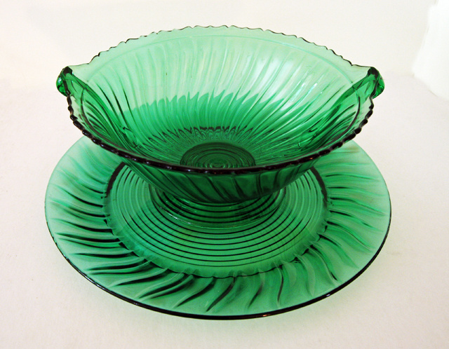 Jeannette Depression Glass Ultra Marine Swirl Console Set Beautiful color and pattern, made only in 1937-1938.