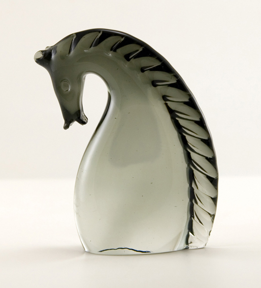 Mid-century modern stylized horse head with Made in Murano, Italy sticker