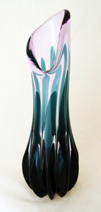 Tiffin Empress Twilight and Green Glass Vase 1960's