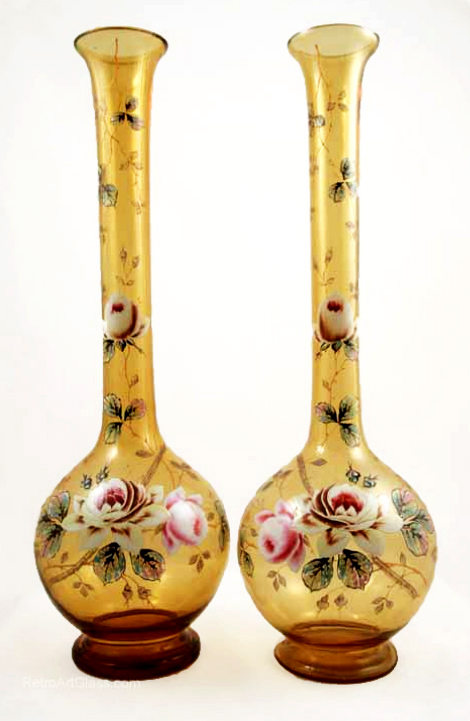 Victorian Blown Glass Extra Tall Enameled Vase Set Retro Art Glass