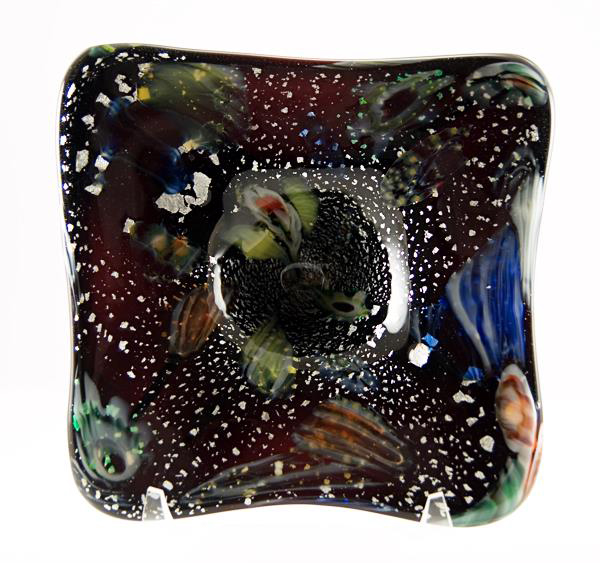 Amethyst Galaxy Bowl 1960's - Hand-made cased glass with metallic and colorful murrina inclusions.