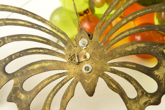 Brass Butterfly Mid-Century Mod Wall Decor - Retro Art Glass