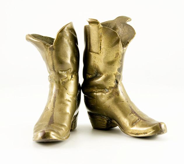 Vintage Cowboy Boots Large Unique Brass Sculptures Retro Art Glass