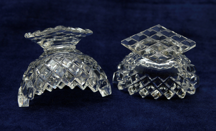 The diamond waffle cut of this crystal salt cellar set is deep and faceted and is & Brilliant Diamond Waffle Cut Crystal Salt Cellar Set - Retro Art Glass