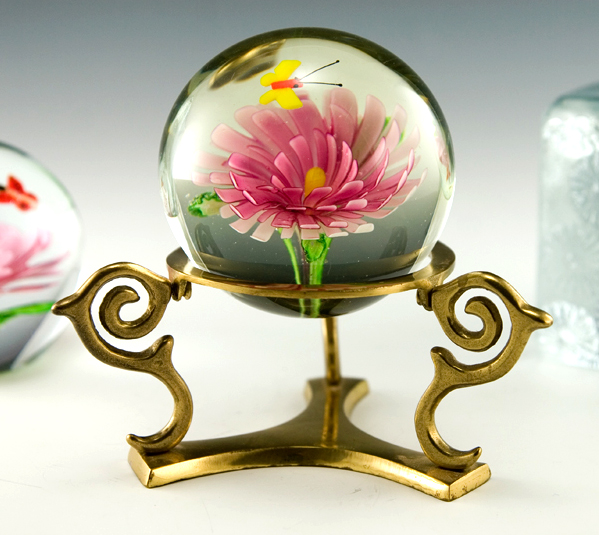 butterfly and flower art glass paperweight with brass stand retro