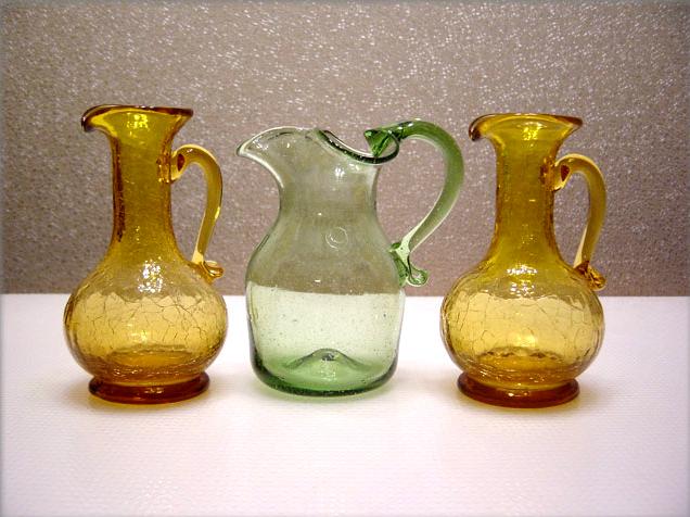Jamestown Glass Green Seeded Milk Jug Retro Art Glass
