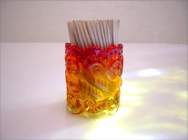 Amberina Glass Toothpick Holder By Kanawha Retro Art Glass