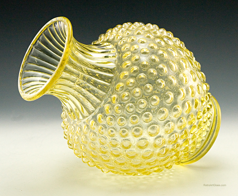 Antique Glass Sweet Pea Vase In Canary Hobnail Retro Art Glass