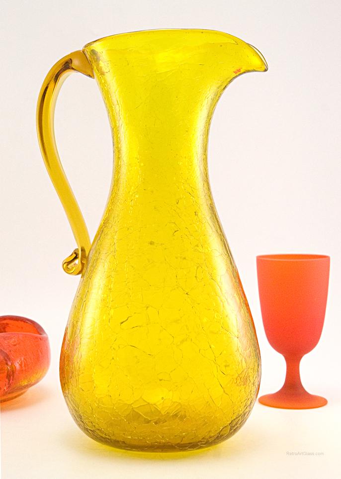 Vintage Blenko Handmade Crackle Glass Beverage Pitcher Retro Art Glass