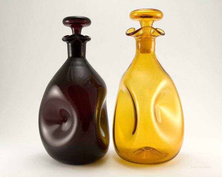 Vintage Blenko Glass Pinch Decanter In Blood Red Retro Art Glass