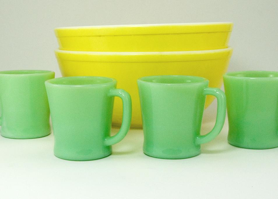 Vintage Fire King Jadeite Mug Set of 6 D Handle - Retro Art Glass
