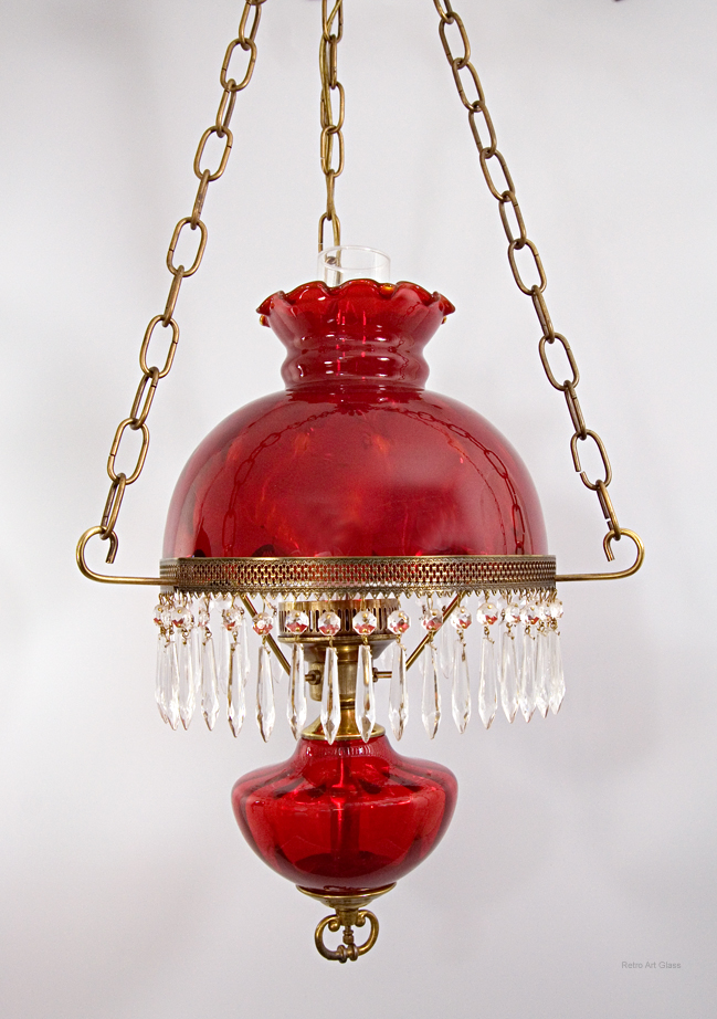 Victorian Style Hanging Lamp by Fenton Art Glass