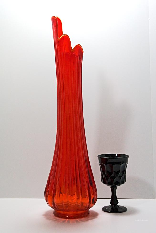 Retro Glass Floor Vase In Persimmon 1960 1970