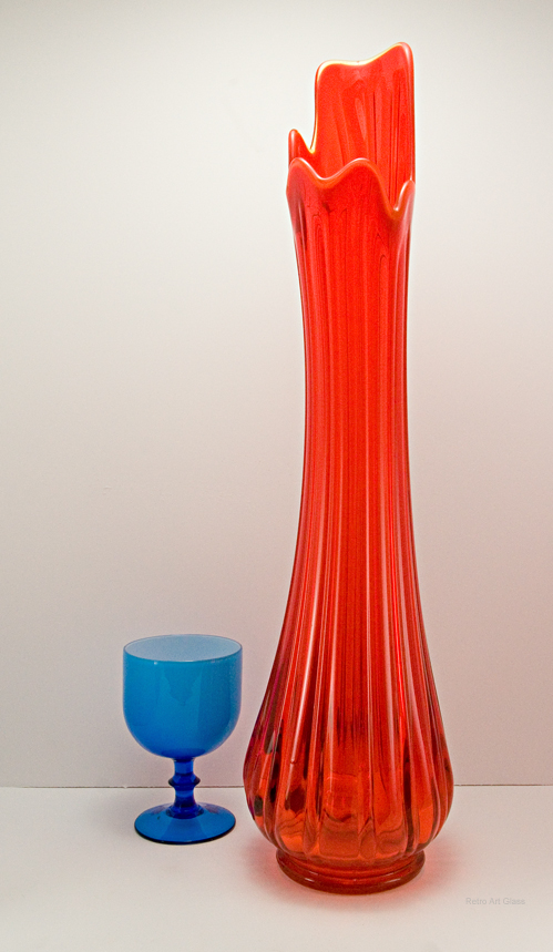 Retro Glass Floor Vase In Persimmon 1960 1970