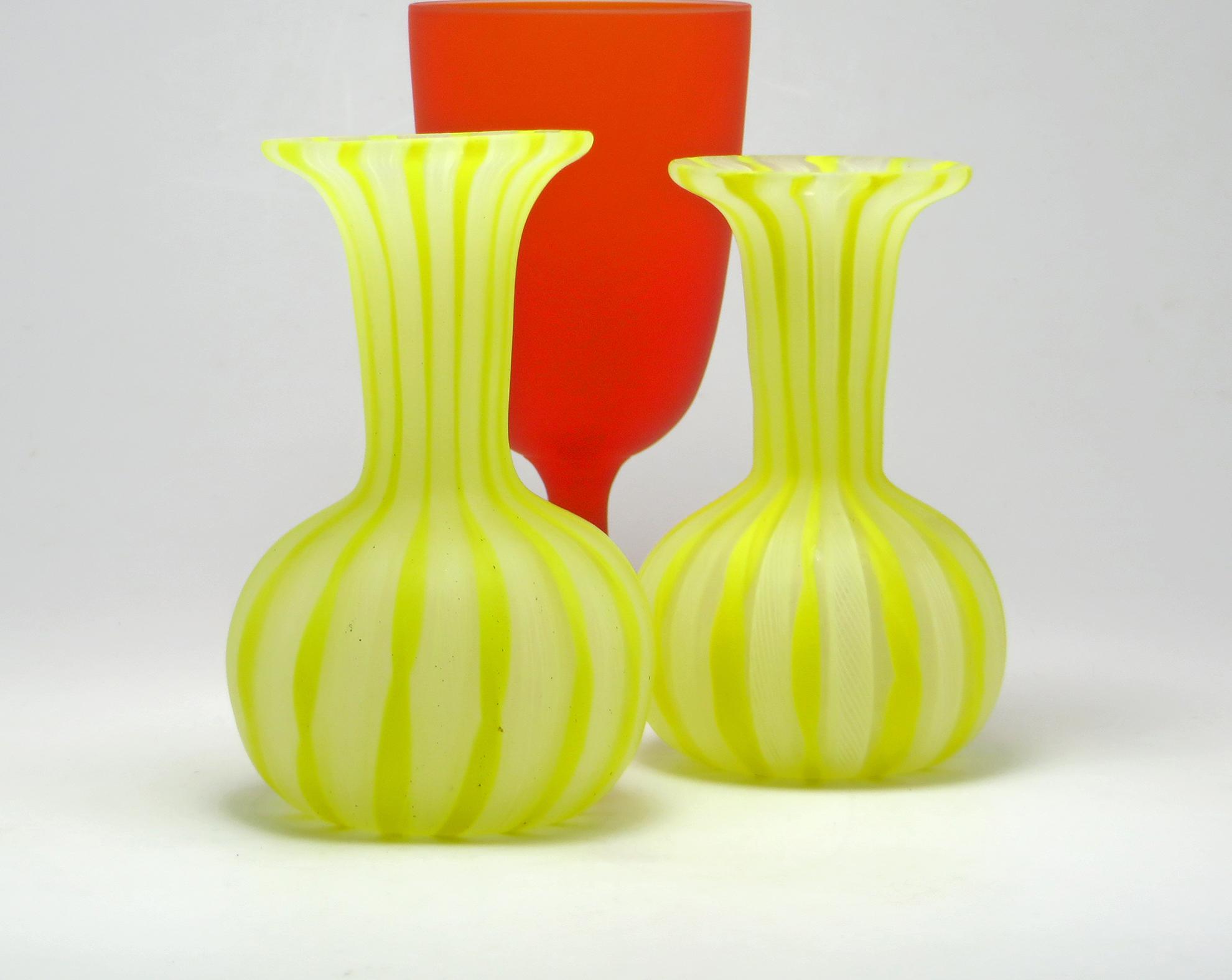 Zanfirico Filigree Glass Vintage Hand Blown Venetian Vanity Vase Set ...